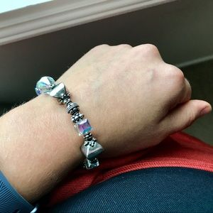 Silver and Iridescent Charm Bracelet
